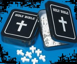 Religious Holy Cross Mints in a Holy Bible Tin for Halloween